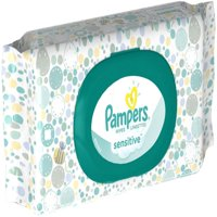 Pampers Baby Wipes Sensitive, W/Fitment, 56 count (Pack of 2)