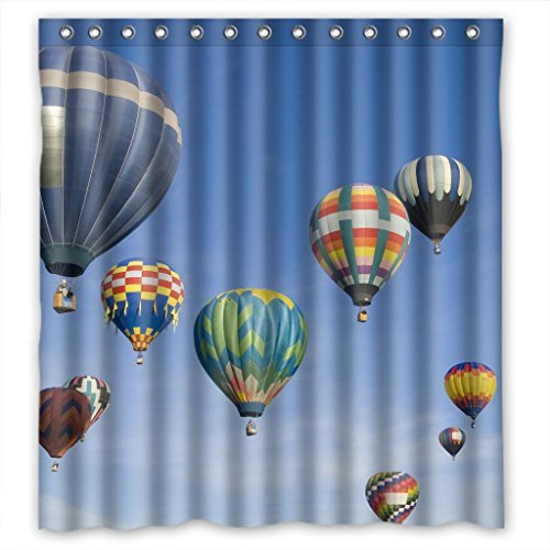 GreenDecor Hot Air Balloon Waterproof Shower Curtain Set With Hooks Bathroom  Accessories Size 66x72 Inches