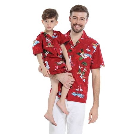 Matching Father Son Hawaiian Luau Outfit Christmas Men Shirt Boy Shirt Shorts Red Santa Flamingo S-8 (Santa Shorts)