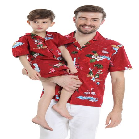 Matching Father Son Hawaiian Luau Outfit Christmas Men Shirt Boy Shirt Shorts Red Santa Flamingo S-8](Father Xmas Outfits)