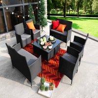 Baner Garden 8 Pieces Outdoor Furniture Complete Patio Wicker Rattan Garden Set, Black (N68-BL-2)
