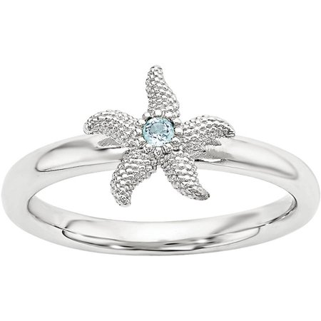 Stackable Expressions Blue Topaz Sterling Silver Starfish Ring