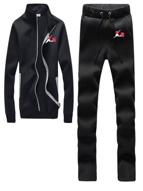 Athletic Full Zip Fleece Tracksuit Jogging Sweatsuit Activewear Black Large