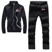 92193e2a462 Athletic Full Zip Fleece Tracksuit Jogging Sweatsuit Activewear Black Large