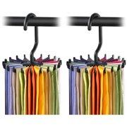 "IPOW Upgraded Twirling Tie Rack Adjustable Belt Hanger Scarf Holder Neck Ties Hook for Closet Organizers 360 Degree Rotating 20 Hooks, 2 Pack, 4.8"", Black"