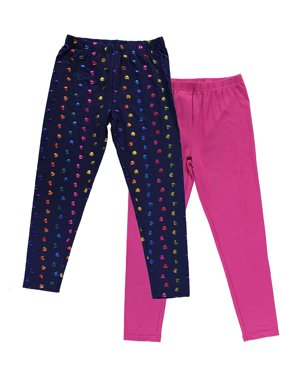 Solid and Foil Printed Leggings, 2-Pack (Little Girls and Big Girls)