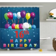 16th Birthday Decorations Shower Curtain Sweet Sixteen Teenage Party Balloons Kitsch Celebration Image Fabric