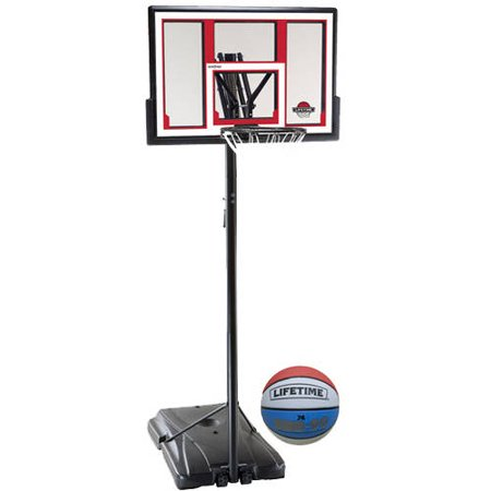 Lifetime 48″ Shatterproof Portable One Hand Height Adjustable Basketball System with Basketball
