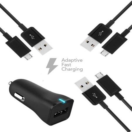 Samsung Galaxy Y Duos S6102 Charger  MicroUSB 2.0 Cable Kit by Ixir(Car Charger + Cable)True Digital Adaptive Fast Charging uses dual voltages for up to 50% faster charging ()