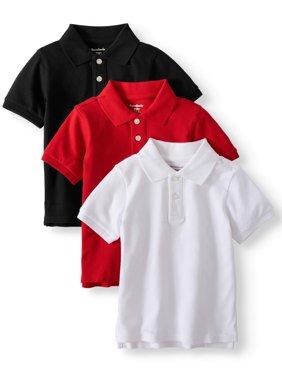 Toddler Boys' Pique Polo Shirts, 3-Piece Multi-Pack