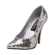 e890ff09031 Womens Classic Pump Shoe 5 Inch Sexy High Heels Silver Sequins Size  6