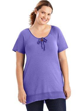 Women's Plus-Size Chiffon Trim Tunic