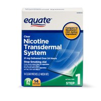 Equate Nicotine Transdermal System Step 1 Clear Patches, 21 mg, 14 Ct