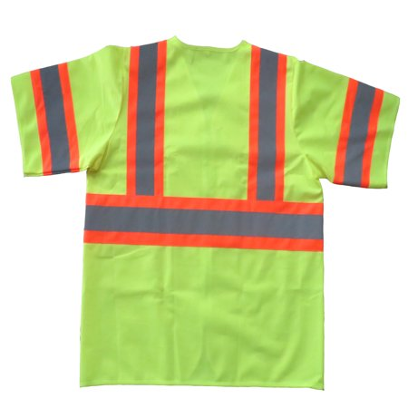 - Shield Safety Fluorescent Yellow Polyester Fabric Safety Vest Large, Class III Silver Reflective Tape with Orange Trim, 1 Count