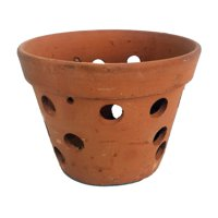 "Hand Made Terracotta Clay Orchid Pot - 7.5"" x 5"""