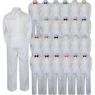23 Color 3pc Set Bow Tie Boy Baby Toddler Kids Formal Suit Shirt White Pants (Lilac Stripe Suit)