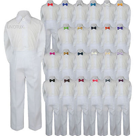 23 Color 3pc Set Bow Tie Boy Baby Toddler Kids Formal Suit Shirt White Pants S-7 - Blue And Yellow Cheerleader Outfit