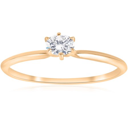 14k Yellow Gold 1/5ct Round Solitaire Diamond Engagement Ring Brilliant Cut