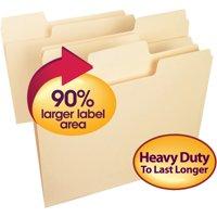 Smead SuperTab Heavyweight File Folder, 1/3 Tab, Manila, Letter, 50/Box