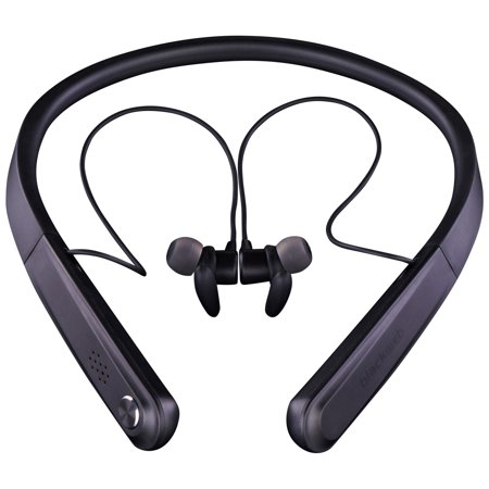 Black web neckband earbuds - black earbuds with microphone