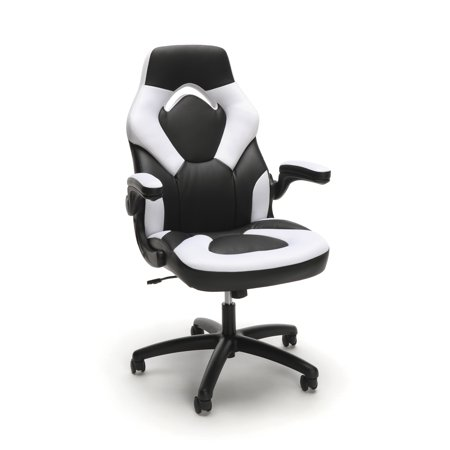 OFM Essentials Racecar Style Leather Gaming Chair, (ESS-3085), White (Soft Leather Office Chair)