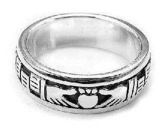 Irish Celtic Wedding Band (Sterling Silver Celtic Claddagh Irish Wedding Band Spin Ring)