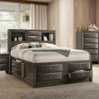 ACME Ireland Queen Bed with Storage in Black Rubberwood, Multiple Sizes