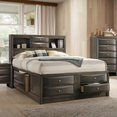 Acme Ireland Queen Bed With Storage In Black Rubberwood