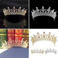 Girl12Queen Luxury Queen Bride Princess Crown Shiny Rhinestone Headband Women's Jewelry