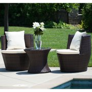 BELLEZE3 Piece Patio Outdoor Rattan Patio Set Wicker Furniture Outdoor SetHour Glass Table Brown Round Chairs