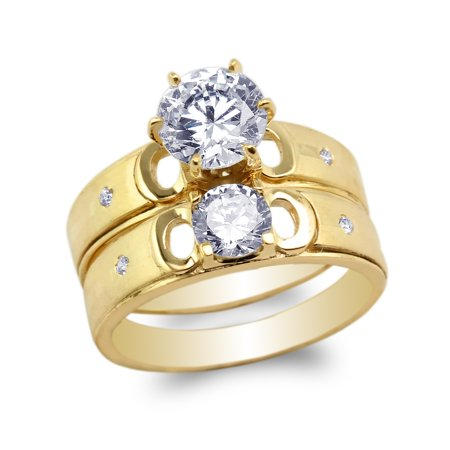 Ladies Yellow Gold Plated Round CZ Engagement Set Duo Luxury Ring 4-10
