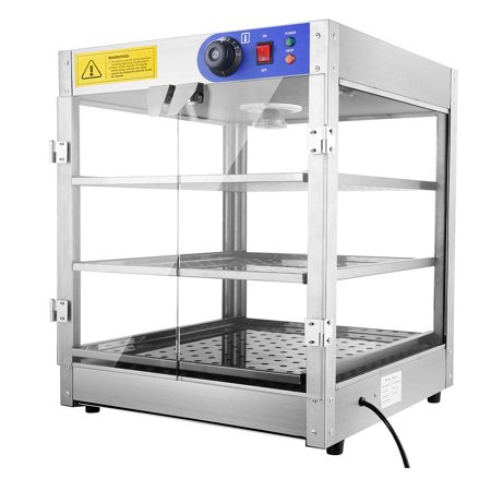 """Commercial 24x20x20"""" 3-Tier Countertop Food Pizza Pastry Warmer Display Case 750W 110V"""
