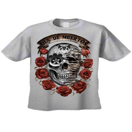 Men's/Unisex T Shirt Dia de los Muertos Sugar Skull Short Sleeve Tee (Dia De Los Muertos Men Makeup)