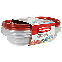 Rubbermaid TakeAlongs Redesigned Rectangle Food Storage Container (Set of 3), 4 Cups Carry Out Tray 4 Cup