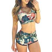 1749167af9 Womens Print Bikini Set Crop Top High Waist Shorts Beach Bathing Suit  Swimsuit