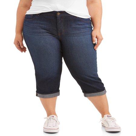 Women's Plus Size Wide Cuffed Comfort Waist Capri Jean (Johnston Casuals Capri)