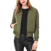 891c54d1f25 Women Quilted Zip Up Raglan Sleeves Bomber Jacket Coat Outerwear