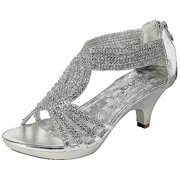 c73b06d15a9 Angel-37 Women Party Evening Dress Bridal Wedding Rhinestone Platform  Kitten Heel Sandal Shoes Silver