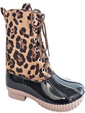 Dylan-33 Women Waterproof Warm Hiking Snow Rain Winter Ankle Lace Up Booties Boot Leopard