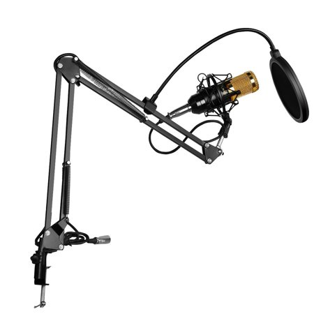 BM-800 Condenser Microphone + Phantom Power + NB-35 Stand with Cable + T1 Pop Filter Wind Screen for Radio Broadcasting Studio Recording