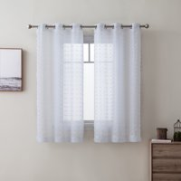 Better Homes & Gardens Clipped Pom Pom Window Curtain Panel, Set of Two