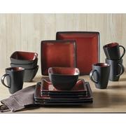 Better Homes & Gardens Weston Dinnerware, Red and Black, Set of 16