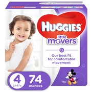 HUGGIES Little Movers Diapers, Size 4, 74 Diapers