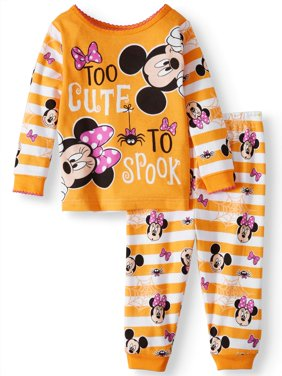 Halloween Glow-in-the-Dark Cotton Tight Fit Pajamas, 2-piece Set (Baby Girls)
