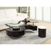 Coaster Furniture Glass Top Coffee Table with Stool