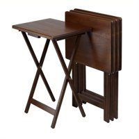 Winsome Wood Set of 4 Single TV Tray Tables in Walnut