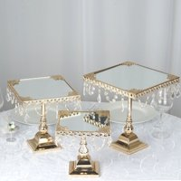 BalsaCircle Set of 3 Square Centerpieces Cake Stands with Crystal Chains - Silver