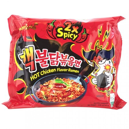 Samyang Spicy Hot Chicken Ramen Stir-Fried Noodles 2 X Spicy 4.93 Oz. (Pack of 3)