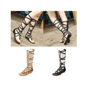 282411fdd116 Meigar Women Knee High Boots Sexy Strappy Open Toe Zipper Gladiator Sandals  Flat Shoes