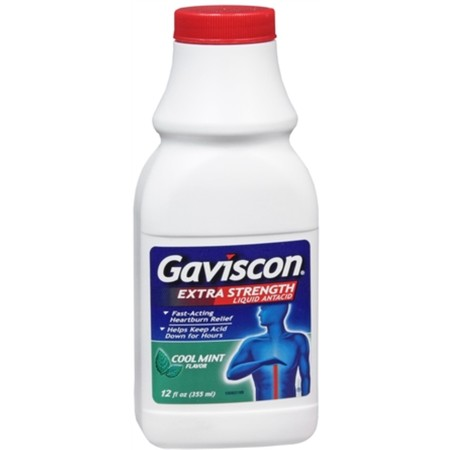 - 4 Pack - Gaviscon Liquid Extra Strength Cool Mint Flavor 12 oz